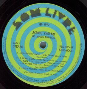 Novos Baianos - 1972 - Acabou Chorare - side 2